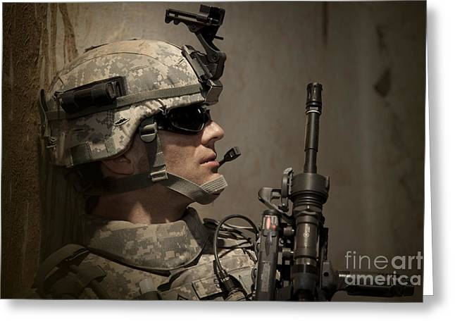 U.s. Army Ranger In Afghanistan Combat Greeting Card by Tom Weber
