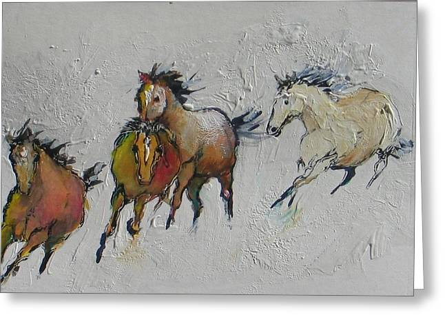 4 Wild Horses Painted Greeting Card