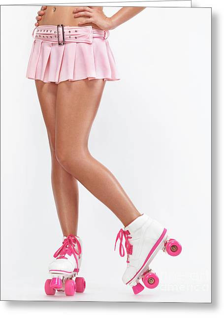 Young Woman Wearing Roller Derby Skates Greeting Card by Oleksiy Maksymenko
