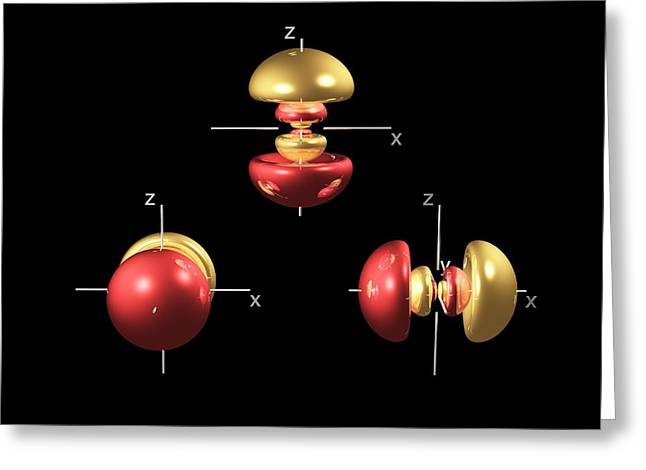 4p Electron Orbitals Greeting Card by Dr Mark J. Winter