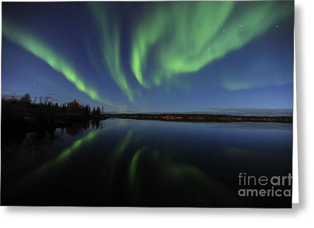 Aurora Borealis Over Long Lake Greeting Card