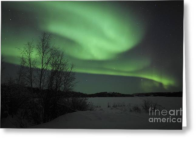 Aurora Borealis Over Vee Lake Greeting Card