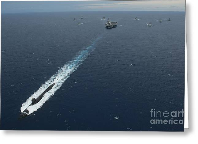 Carrier Strike Group Formation Of Ships Greeting Card by Stocktrek Images