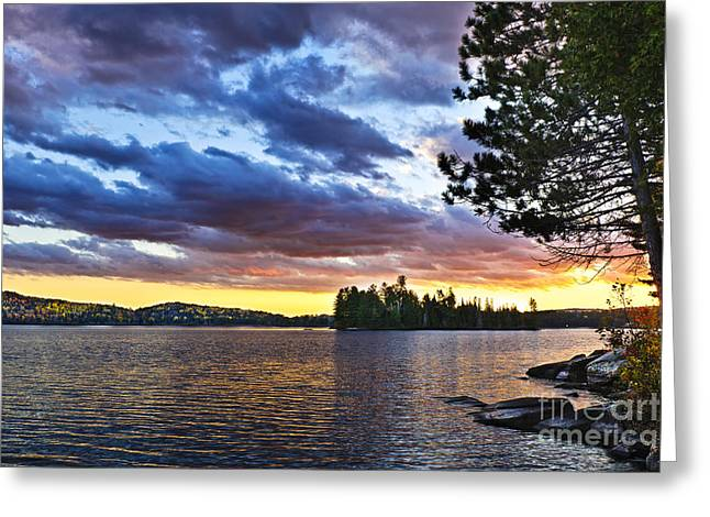 Dramatic Sunset At Lake Greeting Card by Elena Elisseeva