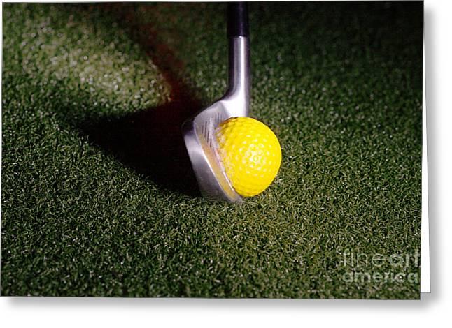 Golf Club Hitting Ball Greeting Card by Ted Kinsman