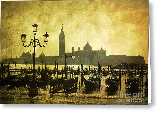 Gondolas. Venice Greeting Card by Bernard Jaubert