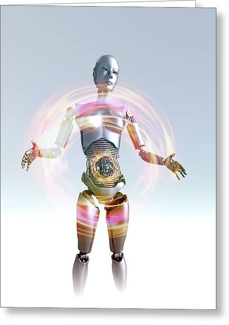 Humanoid Robot, Artwork Greeting Card by Victor Habbick Visions