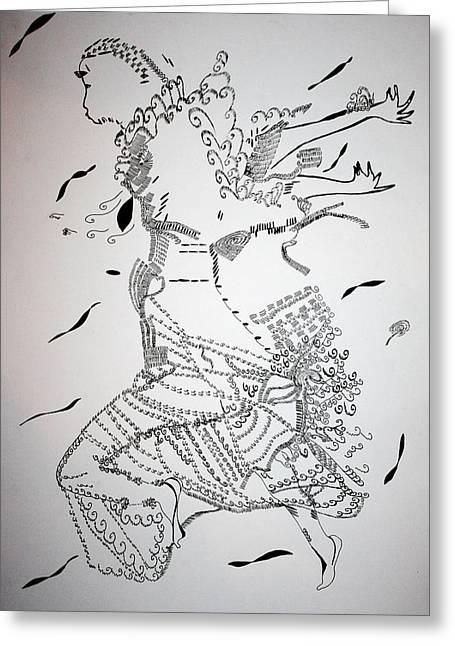 Greeting Card featuring the drawing Kiganda Dance - Uganda by Gloria Ssali