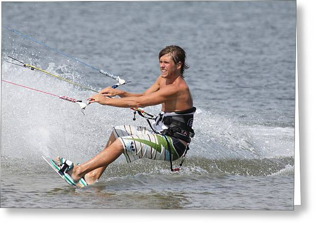 Kite Boarding Greeting Card by Jeanne Andrews