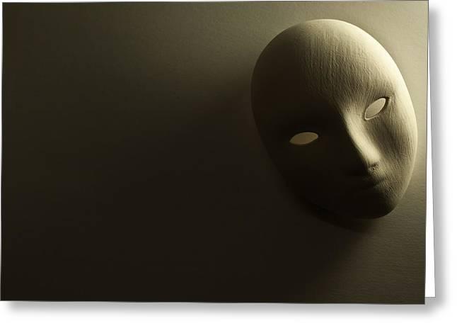 Plaster Mask In Studio Greeting Card by Kantapong Phatichowwat