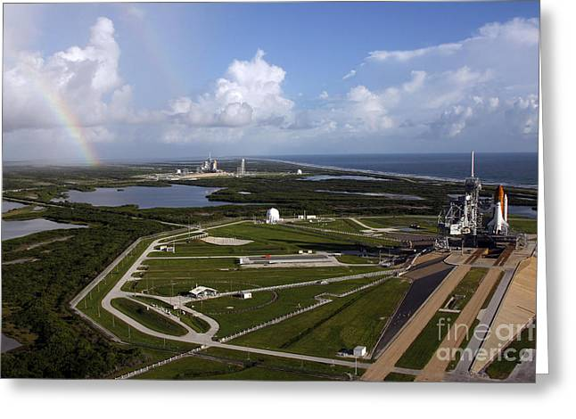 Space Shuttle Atlantis And Endeavour Greeting Card by Stocktrek Images