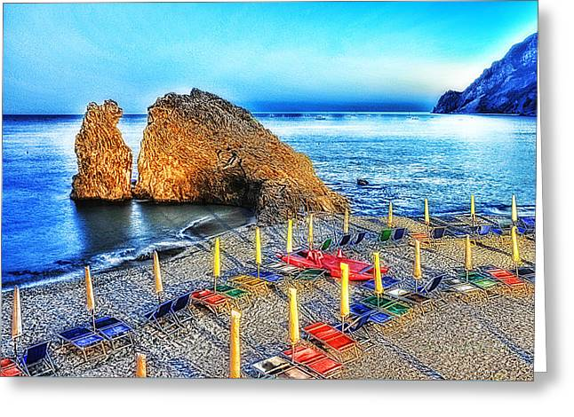 5 Terre Monterosso Beach Umbrellas In Passeggiate A Levante Greeting Card by Enrico Pelos