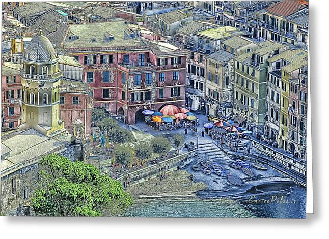 5 Terre Vernazza Landscape Greeting Card by Enrico Pelos