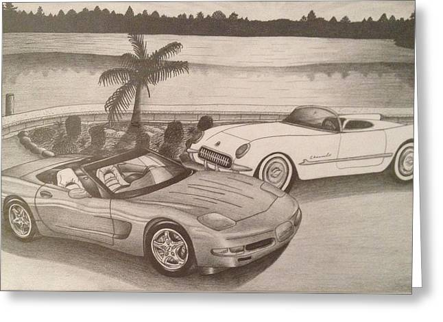 50 Years Of Corvette 1953-2003 Greeting Card by Peter Griffen