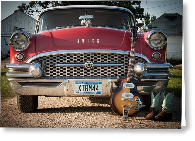 55 Buick Special With 1957 Magnatone Mark V Guitar Greeting Card by Toni Thomas