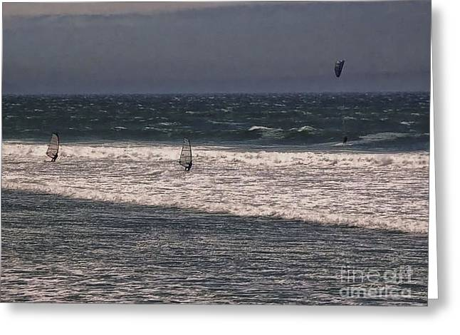 551 Pr Windsurfing Greeting Card by Chris Berry