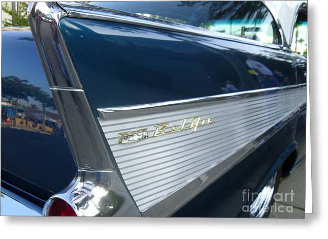 57 Chevy Bel Air Hardtop Back Fender View Greeting Card by Kerry Browne