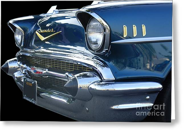 57 Chevy Bel Air Hardtop Front Greeting Card by Kerry Browne