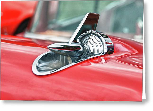 57 Chevy Hood Ornament 8509 Greeting Card by Guy Whiteley