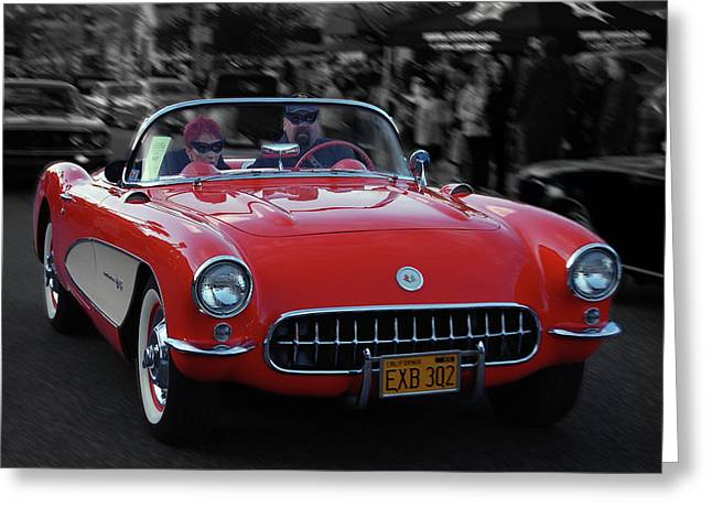 Greeting Card featuring the photograph 57 Fuel Injected Vette by Bill Dutting