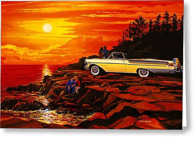 57 Merc Sunset Greeting Card by Bruce Kaiser