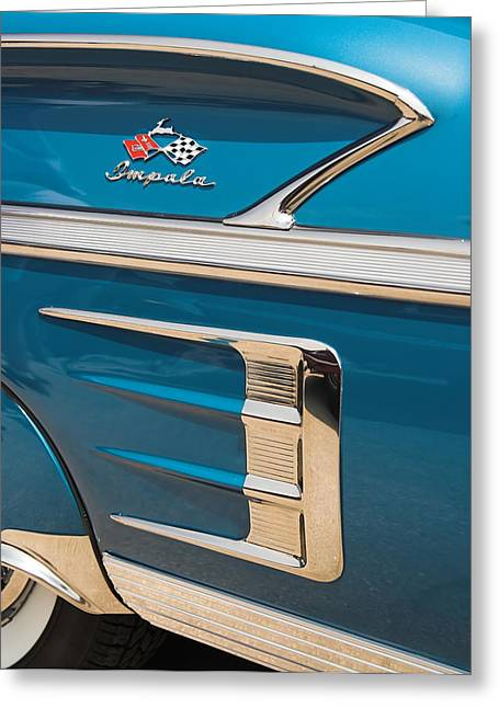 Greeting Card featuring the photograph 58 Impala Detail by Chuck De La Rosa