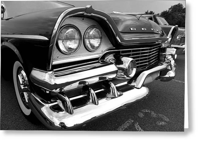 58 Plymouth Fury Black And White Greeting Card