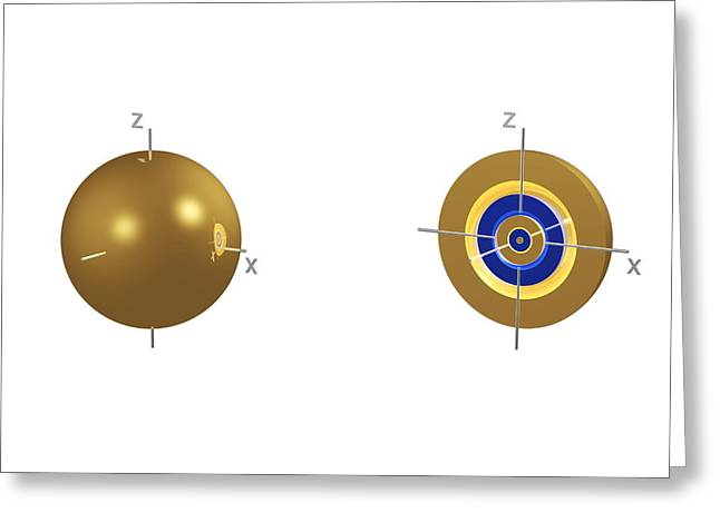 5s Electron Orbital Greeting Card by Dr Mark J. Winter