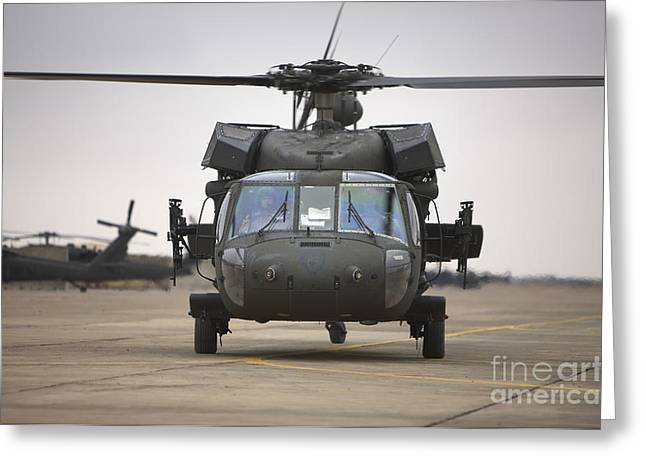 A Uh-60 Black Hawk Taxis Greeting Card