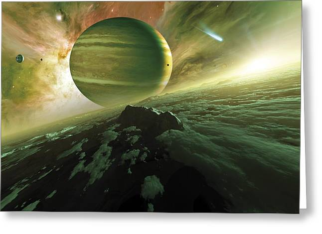 Alien Planet, Artwork Greeting Card by Detlev Van Ravenswaay