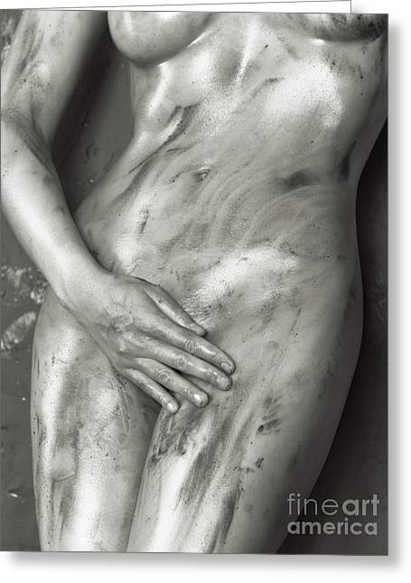 Beautiful Soiled Naked Woman's Body Greeting Card by Oleksiy Maksymenko
