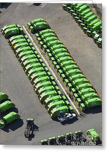Garbage Truck Fleet Greeting Card by Don Mason