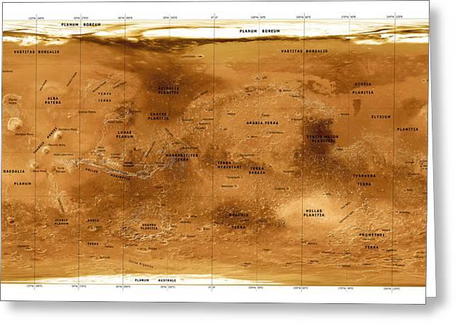 Mars Topographical Map, Satellite Image Greeting Card by Detlev Van Ravenswaay
