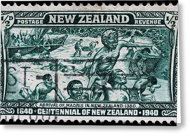 old New Zealand postage stamp Greeting Card by James Hill