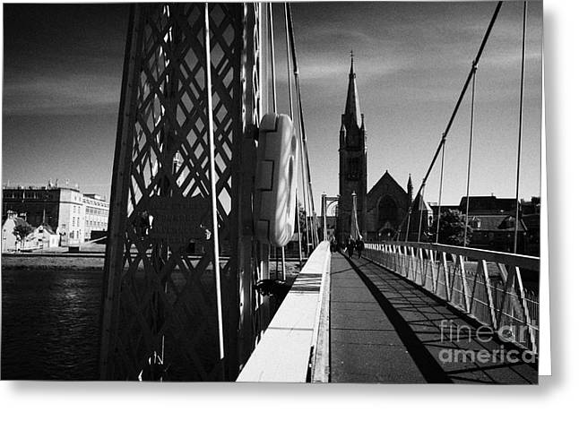 Pedestrian Suspension Footbridge The Greig Street Bridge Over The River Ness Inverness Highland Scot Greeting Card by Joe Fox