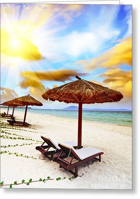 Sandy Tropical Beach Greeting Card by MotHaiBaPhoto Prints