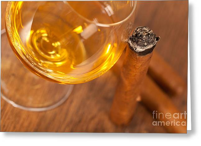 Whisky And Cigars Greeting Card by Sabino Parente