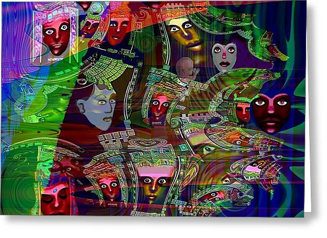 636 - People Masks Greeting Card