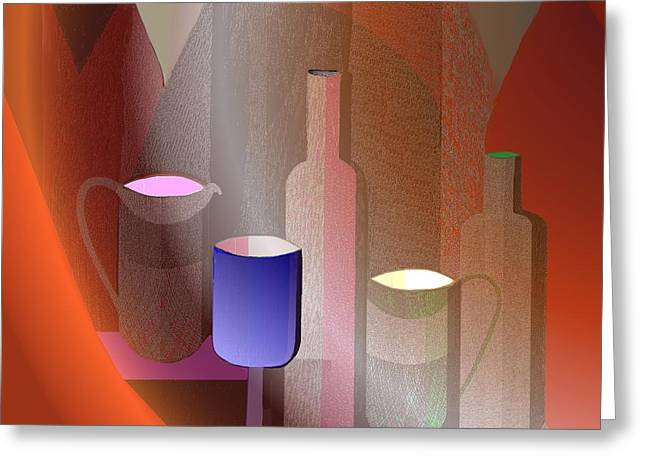 643 - Still Life  With Bottles  Cups  And A Glass Greeting Card