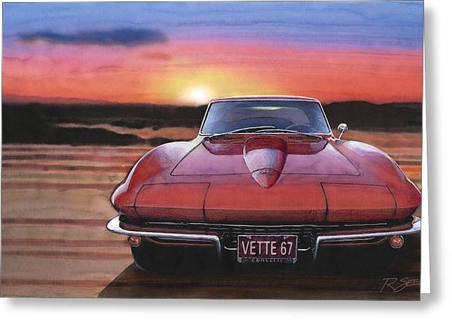 '67 Corvette Sunset Greeting Card by Rod Seel