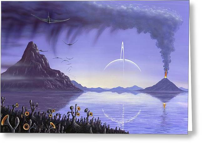 Alien Landscape, Artwork Greeting Card by Richard Bizley