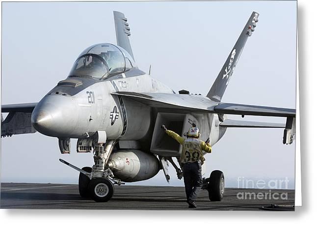 An Fa-18f Super Hornet During Flight Greeting Card by Gert Kromhout