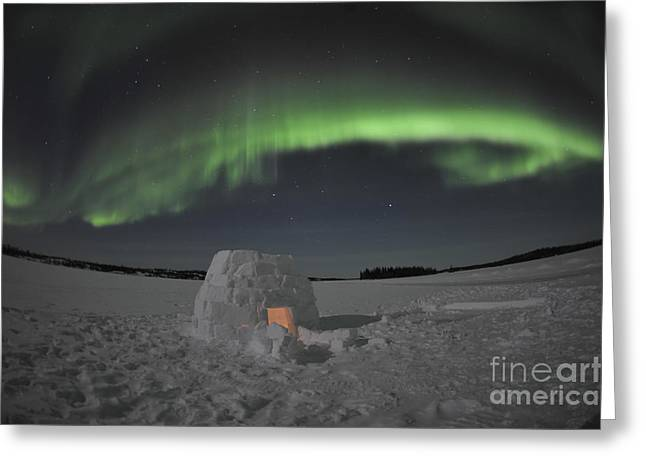 Aurora Borealis Over An Igloo On Walsh Greeting Card by Jiri Hermann