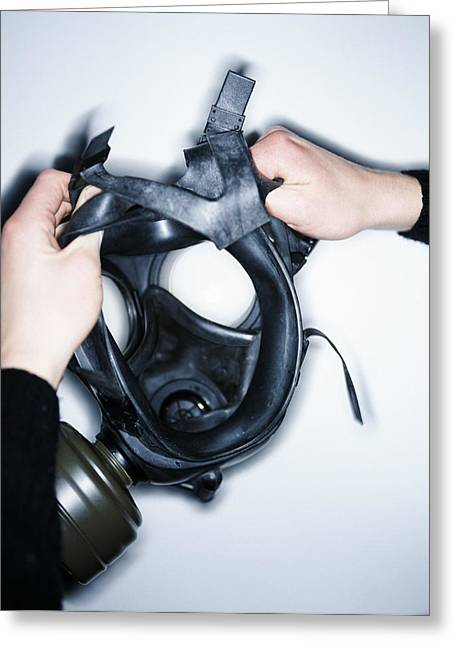 Gas Mask Greeting Card by Lawrence Lawry