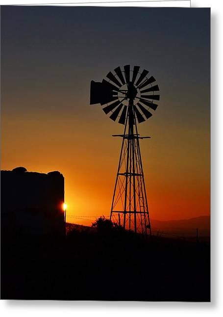 Greeting Card featuring the photograph Water Pump Windmill by Werner Lehmann