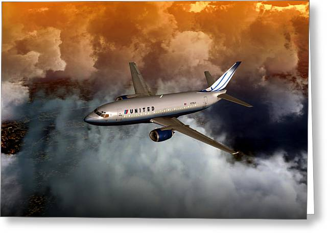 Greeting Card featuring the digital art 737 Ua 20x16 01 by Mike Ray