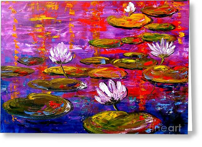 Lily Pond Greeting Card by Inna Montano