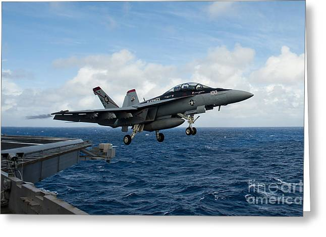 An Fa-18f Super Hornet Launches Greeting Card by Stocktrek Images