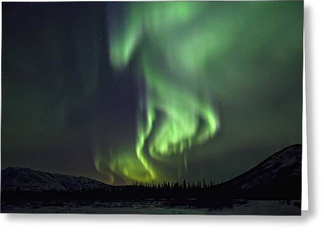 Aurora Borealis Or Northern Lights Greeting Card by Robert Postma