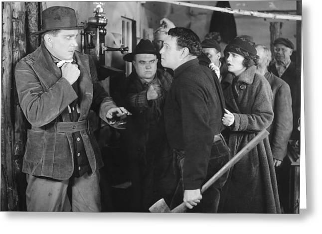 Silent Film Still: Fights Greeting Card by Granger